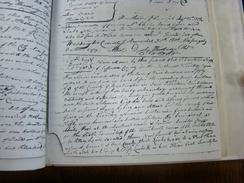 Page 1 of the Zaccheus Biggs deed of Land to Solomon Goss 1802