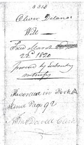 Oliver Delano's will 1821