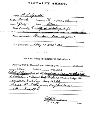 J.A. Spracklin Casualty Sheet