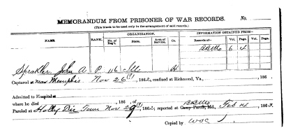 Prisoner of War Card for J.A. Spracklin